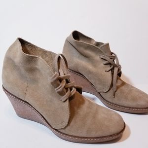 JCrew Macalister Suede Leather Ankle Wedge Booties